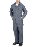 48977T Dickies Unisex Tall Cotton Coverall - Fisher Stripe