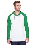 6917 LAT Men's Hooded Raglan Long Sleeve Fine Jersey T-Shirt