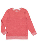 6965 LAT Adult Harborside Melange French Terry Crewneck with Elbow Patches