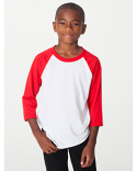 BB253W American Apparel Youth Poly-Cotton 3/4-Sleeve T-Shirt