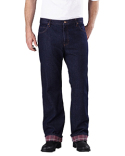 DD217 Dickies Men's Relaxed Straight-Fit Flannel-Lined Denim Jean Pant