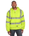 HVF021 Berne Men's Hi-Vis Class 3 Lined Full-Zip Hooded Sweatshirt