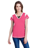 LA3533 LAT Ladies' Gameday Lace Up T-Shirt