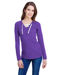 LA3538 LAT Ladies' Long-Sleeve Lace Up T-Shirt