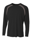 N3003 A4 Men's Spartan Long Sleeve Color Block Crew Neck T-Shirt