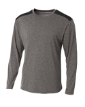 N3101 A4 Men's Tourney Heather Color Block Long Sleeve T-Shirt