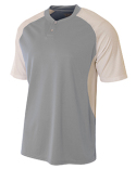 N3315 A4 Adult Performance Contrast 2 Button Baseball Henley T-Shirt