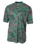 NB3263 A4 Youth Camo 2-Button Henley Shirt