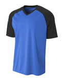 NB3373 A4 Youth Polyester V-Neck Strike Jersey with Contrast Sleeves
