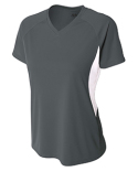 NW3223 A4 Ladies' Color Block Performance V-Neck T-Shirt