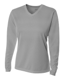 NW3255 A4 Ladies' Birds-Eye Mesh Long Sleeve V-Neck T-Shirt