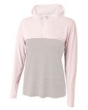 NW4013 A4 Ladies' Slate Quarter-Zip Hooded Sweatshirt