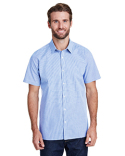 RP221 Artisan Collection by Reprime Mens Microcheck Gingham Short-Sleeve Cotton Shirt